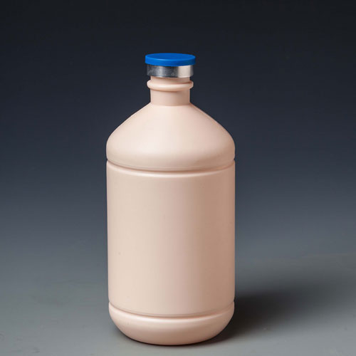 b14 500ml plastic pink vaccien bottle with rubber stopper