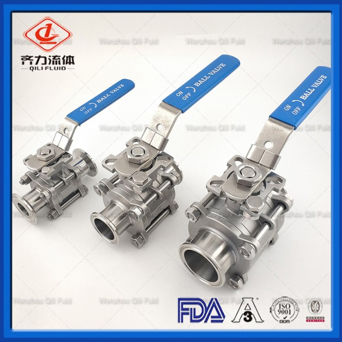 304 Ss Sanitary Tri-Clamp Ball Valves 3 Piece with Silicone Gasket