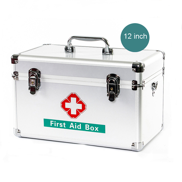 12 Inch Aluminum Alloy Safety Medicine Medical Box Silver Color Case