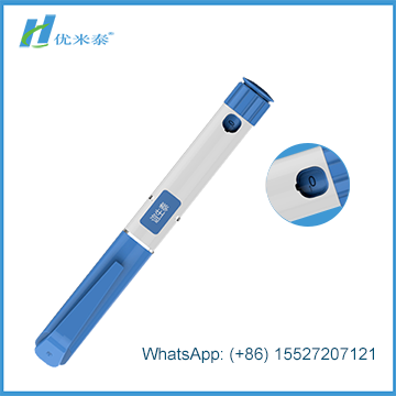 Disposable injector pen in plastic body with double chamber cartridge for injection of Human Growth