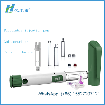 Refilled Diabetes insulin pen in disposable use with 3ml Cartridge in plastic materials